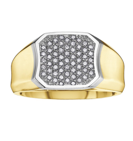 Yellow and White Gold Pavee Set  (0.33ct) Mens Diamond Ring
