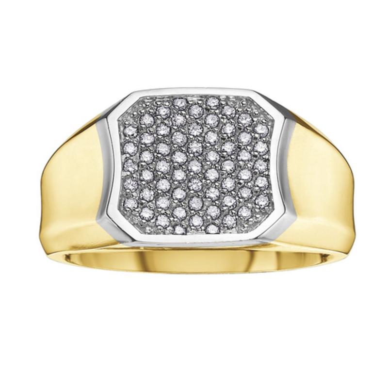 10K Yellow and White Gold (0.33ct) Pavee Set Diamond Ring