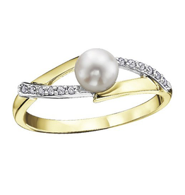 Yellow and White Gold (0.06ct) Pearl and Diamonds Ring