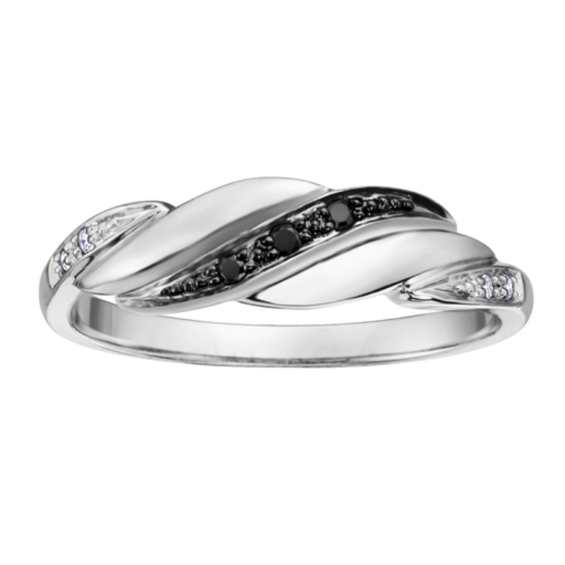 White Gold Black and Clear Diamond Ring