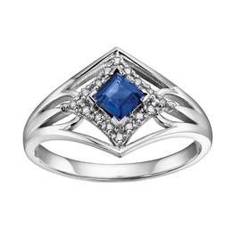 White Gold Sapphire & Diamond Ring