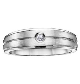 White Gold Bezel Set (0.04ct) Men's Diamond Band