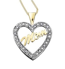 Diamond Mom Heart Pendant