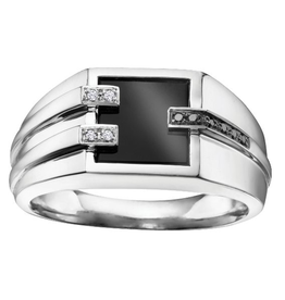 White Gold Mens Onxy, Black and White Diamond Ring