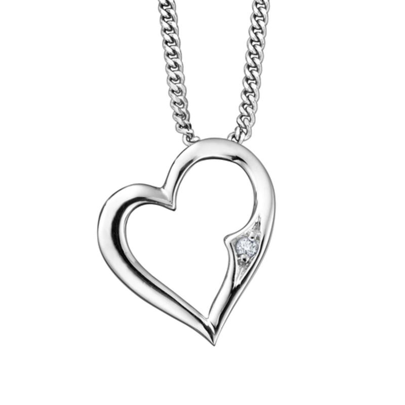 Heart Diamond Pendant (0.01ct) White Gold