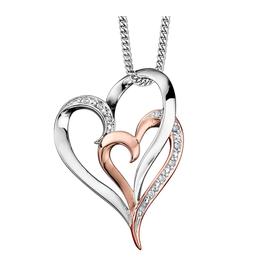 White & Rose Gold (0.035cttw) Double Heart Pendant