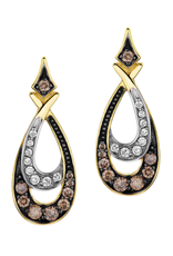 Yellow Gold (0.47ct) Diamonds and Brown Diamonds Dangle Earrings