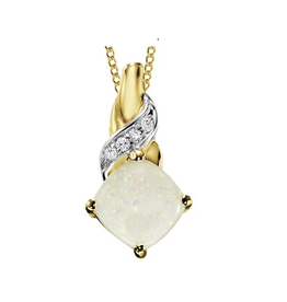 Yellow Gold Opal and Diamond Pendant