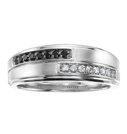 10K White Gold (0.24ct) Black and White Diamond Mens Ring