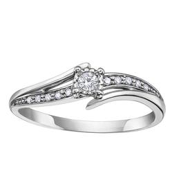 10K White Gold Diamond Promise Ring (0.10ct)