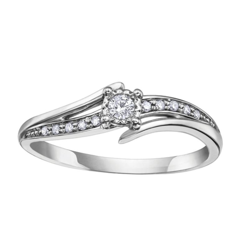10K White Gold (0.10ct) Diamond Illusion Setting Ring