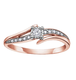 10K Rose Gold Diamond Promise Ring (0.10ct)