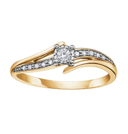 10K Yellow Gold (0.10ct) Diamond Illusion Setting Ring