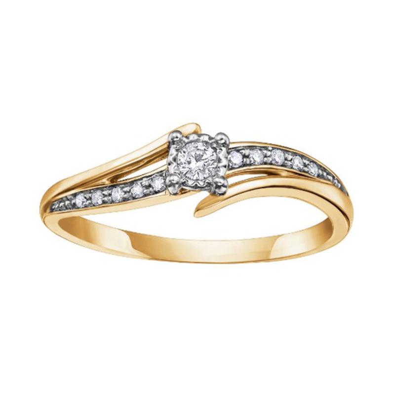 10K Yellow Gold (0.10ct) Diamond Illusion Setting Ring