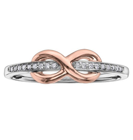 10K White and Rose Gold Diamond Infinity Ring