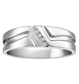 White Gold Channel Set Mens Diamond Band (0.05ct)