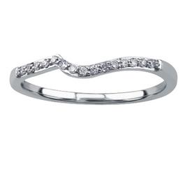 14K White Gold  (0.08ct) Diamond Matching Wedding Band