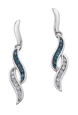 10K White Gold Blue Diamond Dangle Earrings