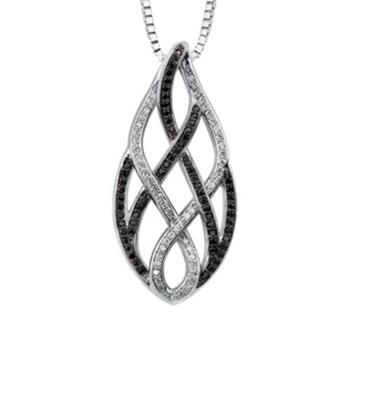 Diamond and Black Diamond Pendant