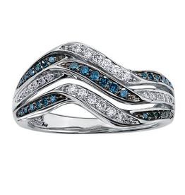 White Gold Blue Diamond Fancy Ring
