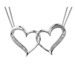 Sterling Silver (0.08ct) Diamond Double Heart Necklace