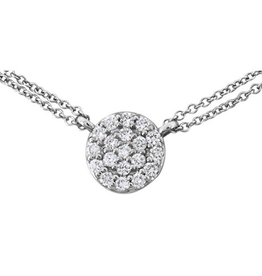 Diamond Cluster Necklace (0.15ct) Sterling Silver