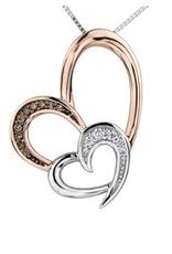 White & Rose Gold (0.10ct) Diamond & Brown Diamond Pendant