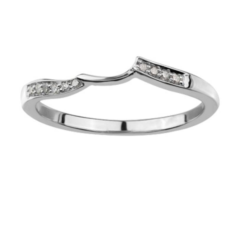 10K White Gold (0.05ct) Diamond Matching Wedding Band