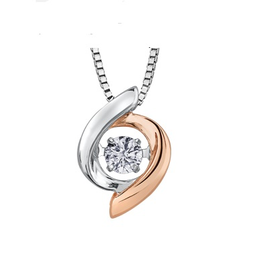 White & Rose Gold (0.10ct) Dancing Diamond Pendant