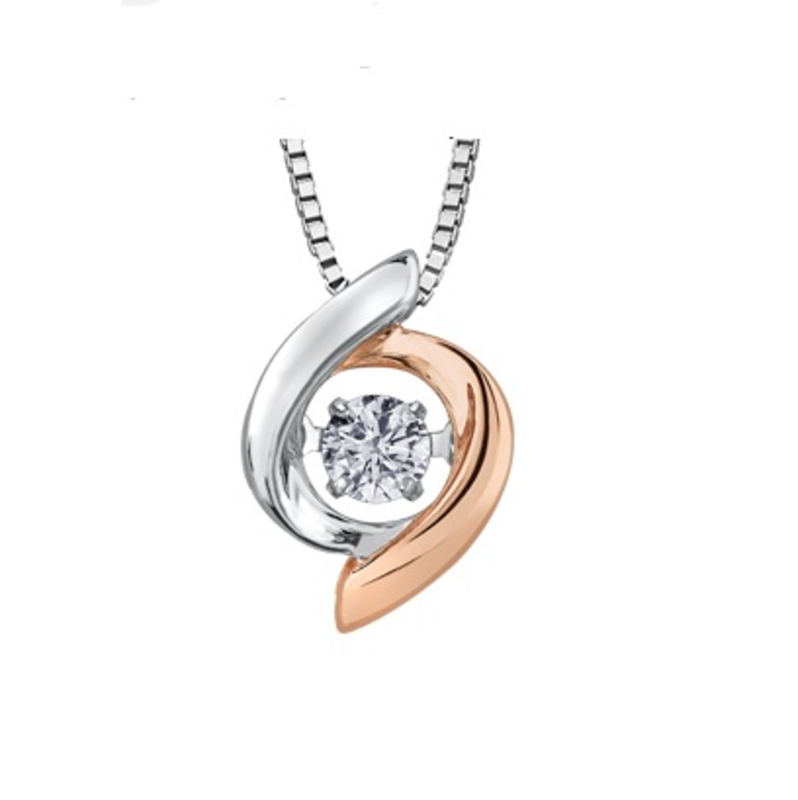 10K White & Rose Gold (0.10ct) Dancing Diamond Pendant