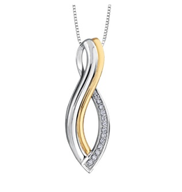 Sterling Silver and 10K Yellow Gold Infinity Diamond Pendant