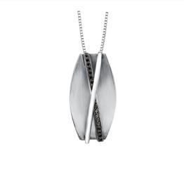 Sterling Silver (0.08ct) Black Diamond Pendant