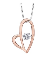 10K Rose and White Gold (0.12ct) Dancing Diamond Heart Pendant
