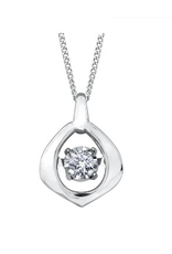 10K White Gold (0.02ct) Dancing Diamond Contemporary Pendant
