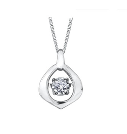 10K White Gold (0.02ct) Dancing Diamond Pendant
