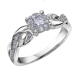 10K White Gold Cluster Diamond Engagement Ring (0.315cttw)