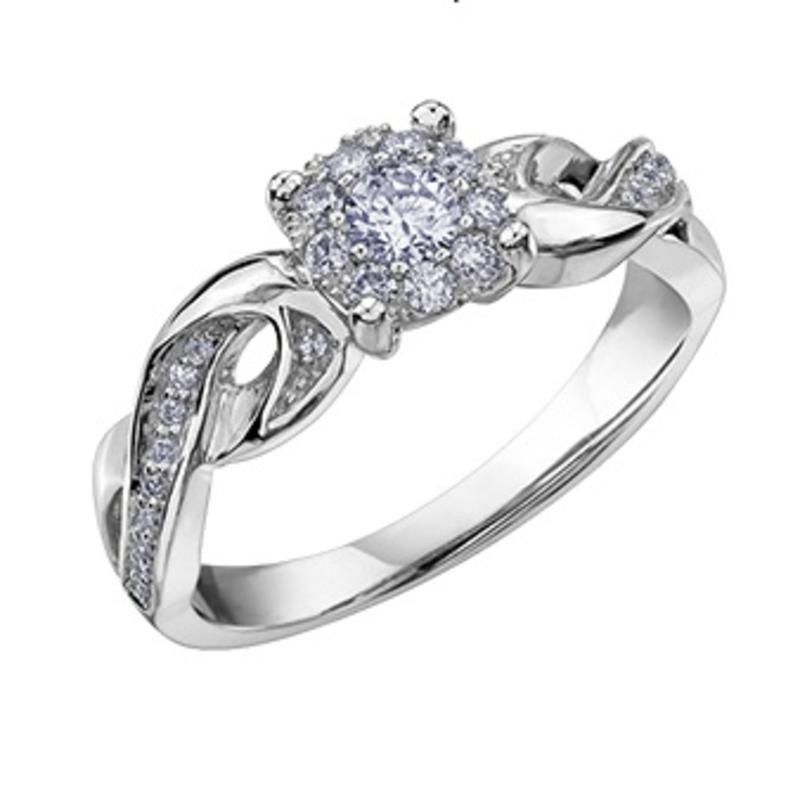 10K White Gold (0.31ct) Cluster Diamond Engagement Ring