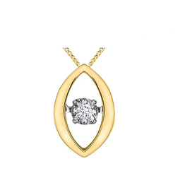 10K Yellow Gold (0.02ct) Dancing Diamond Pendant