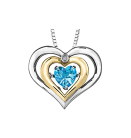 Dancing Blue Topaz & Diamond Sterling Silver and Yellow Gold Pendant
