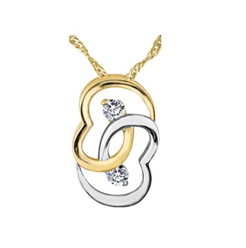 Yellow & White Gold (0.10ct) Diamond Double Heart Pendant