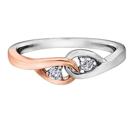 10K Two Tone Rose and White Gold (0.10ct) Diamond Together Forever Promise Ring