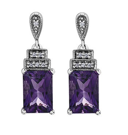 10K White Gold Emerald Cut Amethyst and Diamonds Dangle Earrings
