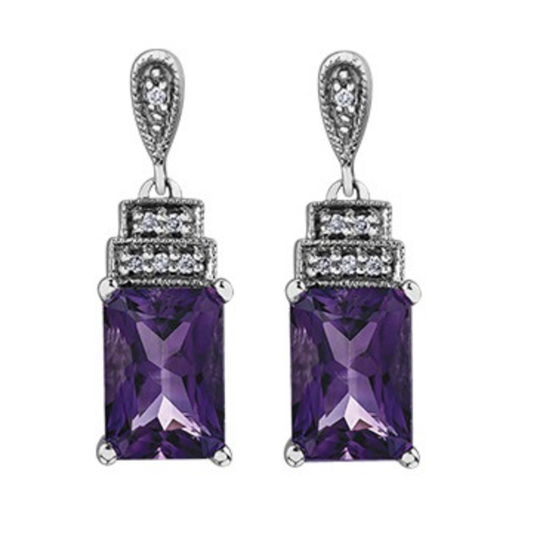 Amethyst & Diamond Dangle Earrings White Gold