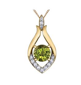 10K Yellow Gold Peridot and Diamond Pendant