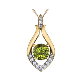 Yellow Gold Peridot and Diamond Pendant