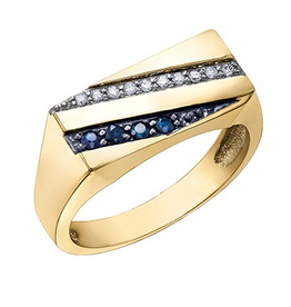 10K Yellow Gold Blue Sapphire and Diamonds Men's Ring