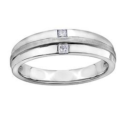 10K White Gold (0.15ct) Princess Cut Diamond Men's Band