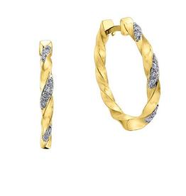 10K Yellow Gold (0.10ct) Diamond Hoop Earrings