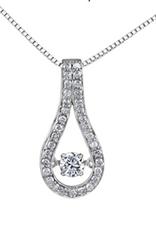White Gold (0.30cttw) Dancing Diamond Pendant