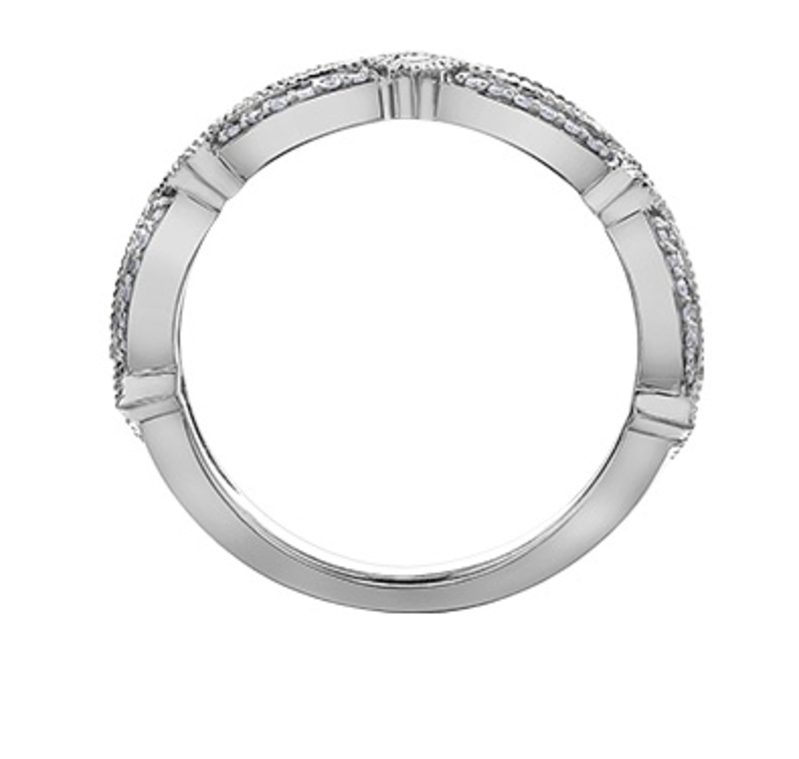 White Gold (0.15ct) Gold with Sapphires Stackable Band